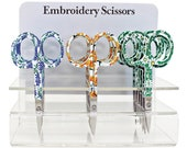 """Floral Embroidery Scissors - Texas Blue Bonnets, Yellow Daylilies, or Daisies on Green Scissors - 3.75"""" Scissors"""