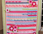 """Striped Floral Throw Quilt 59.25"""" x 71.5"""" - Chenille Flowers - Moda Aria - Jelly Roll Race - Appliqued Throw Quilt - Pink Green Blue Quilt"""