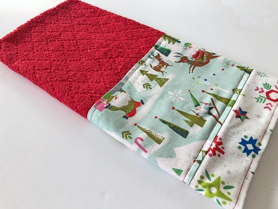 Retro Christmas Red Kitchen Dish Towel, Fabric Trimmed Hand Towel, Tea  Towel, Way Up North, Embellished Towel