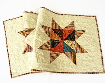 """Quilted Star Table Runner - 20"""" x 49.75"""" - Autumn Colors Table Quilt - Perfectly Seasoned - Quilted Fall Star Table Runner - Tablecloth"""