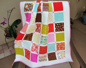 """Baby Quilt Blanket for Girl - 36.25"""" x 42"""" - Wrens and Friends - Wheelchair Lap Stroller Quilt - Quilted Play Mat - Baby Shower Gift"""