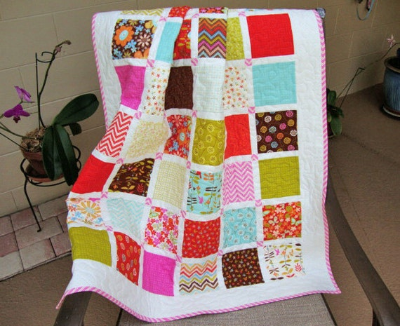 Baby Blanket Patchwork Baby Quilt Stroller Crib Quilt Baby Girl Quilt Moda Wrens and Friends 36.25 x 42 Tummy Time Quilted Play Mat