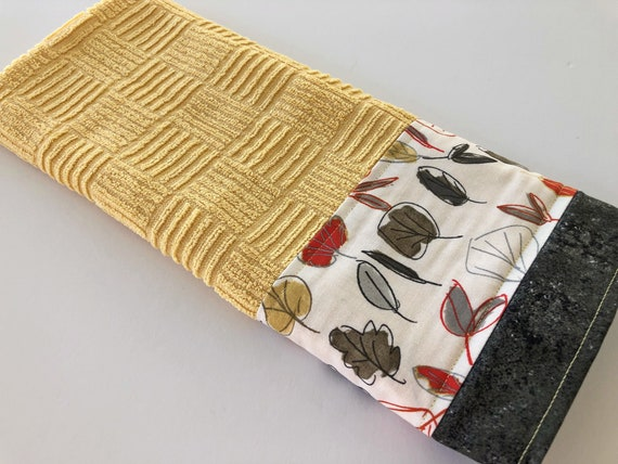Grey Yellow Kitchen Dish Towel, Fabric Trimmed Hand Towel, Tea Towel,  Modern Kitchen Towel, Leaves Dish Towel