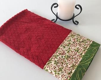Oversized CHRISTMAS Holly Kitchen Dish Towel, Oversized Red Green Kitchen Dish Towel, Fabric Trimmed Hand Towel, Tea Towel