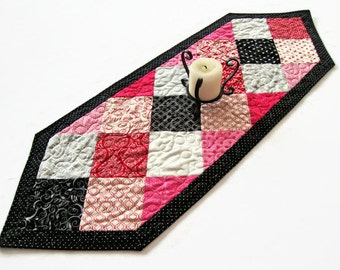 """Valentine's Day Quilted Table Runner - 14"""" x 41"""" - Love Ever After Table Runner - Valentine Decor - Valentines Patchwork Table Runner"""