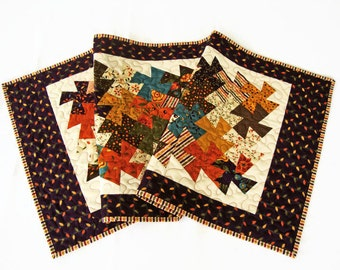 """Fall Twister Quilted Table Runner - 19"""" x 41.5"""" - Autumn Pinwheels Table Runner - Perfectly Seasoned Table Quilt - Tablecloth"""