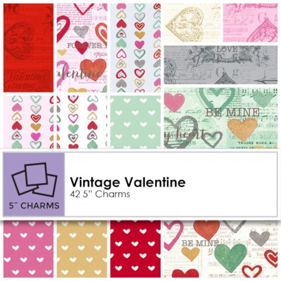 Vintage Valentine Charm Pack Valentine S Day Fabric Etsy
