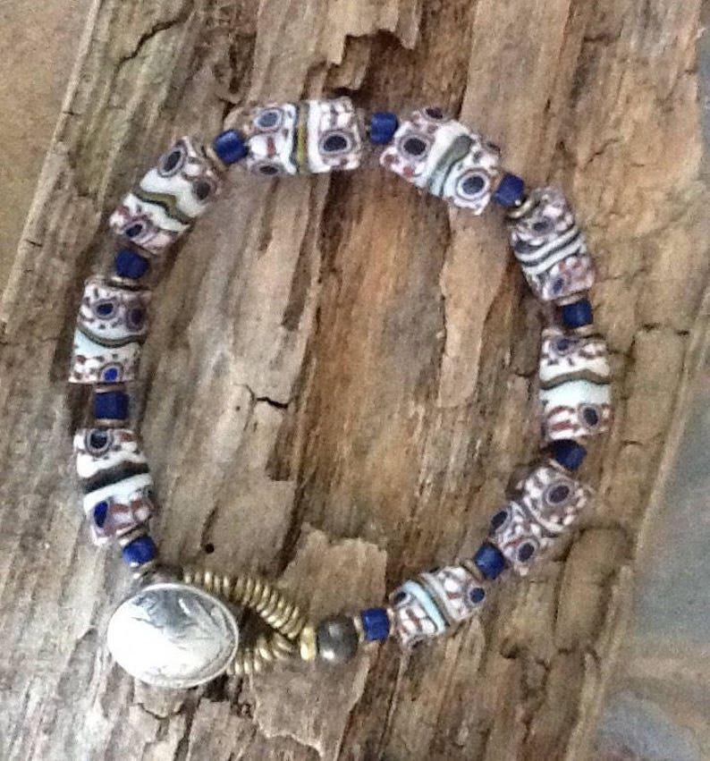 African Trade Bead Bracelet African Beads Vintage Milliefiore African Bracelet Boho Bracelet Tribal Bracelet