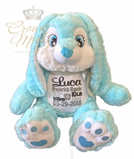 Personalized Stuffed Animal Blue Bunny Name Or Birth Stats Etsy