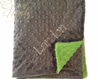 Minky Baby Blanket, Personalized Baby Blanket Jade Green and Charcoal Grey Gray