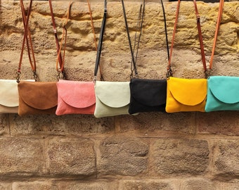 Small Soft Leather Crossbody Bag for Women, Everyday Mini Purse. Crossbody Tan, Black, Teal, Mustard, Pink and Pearl Casual Women Purse