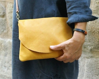 Mustard Leather Crossbody Bag, Everyday Purse, Yellow Leather Bag, Plane Leather Purse , Minimalist Simple Bag, Small Leather Bag, Flap Bag