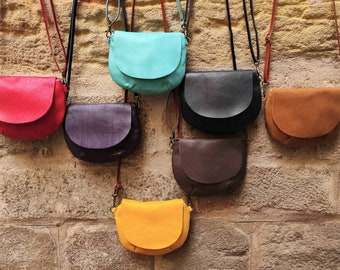 Crossbody Small Round Leather Purse. Small Women Leather Bag . Small Tan Color,  Mustard, Black, Red, Brown or Purple Leather Bag Purse