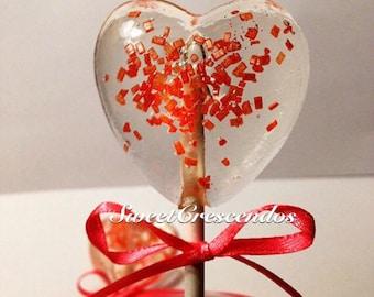 Red Heart Lollipops with edible Jewel glitter- Hard Candy Lollipops- Birthday- Wedding- Bridal Shower