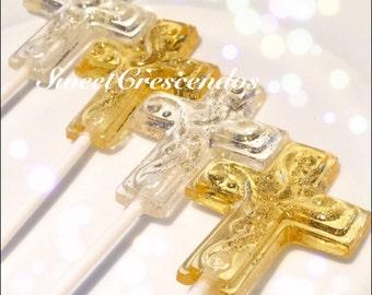 CROSS lollipop- Baptisms Lollipops, Christening Lollipops- Communion Lollipops- Hard Candy Lollipops- Religious