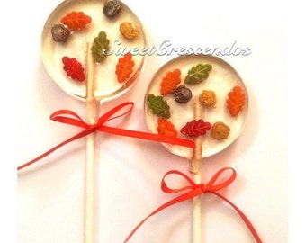 Floating sugar leaves Confetti Lollipops-  Old Fashioned Hard Candy- Thanksgiving Candy- Fall Party Favors- Leaves- Hard Candy Lollipops