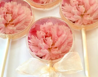 Mother's Day Peonies Lollipops- Hard Candy Lollipops- Peony-Lollipops-Mother's Day-Bridal Shower-Wedding-Babyshower-Tea Party