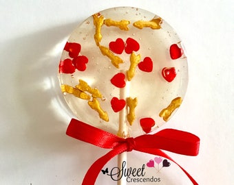 Valentine's Day Lollipops Hearts and Arrows- Hard Candy Lollipops- Valentines Party- Bridal shower- Wedding