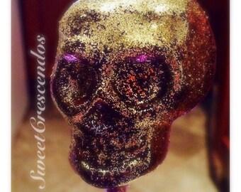 Glittery Skull Lollipops-  Old Fashioned Hard Candy- Halloween Lollipops- Halloween Candy- Sugar Skulls- Skull Candy
