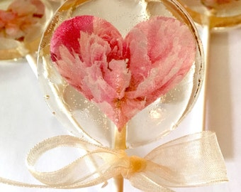 Heart Peonies-Hard Candy Lollipops- Mother'sDay-Spring- Bridal Shower- Babyshower-Birthday-Wedding-Spring-Tea Party