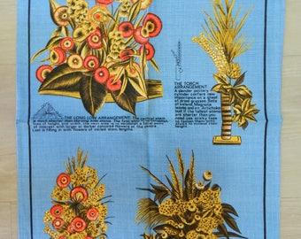 Vintage Unused Ulster Pure Linen Tea Towel 1970's Dried Flowers