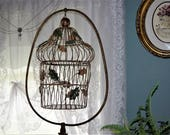 BIRDCAGE PLANTER BASKET Hanging Plant Holder Bird Cage Large Garden Room Decoration Green Metal Ornament Leaf Chain Hook Table Top Tabletop