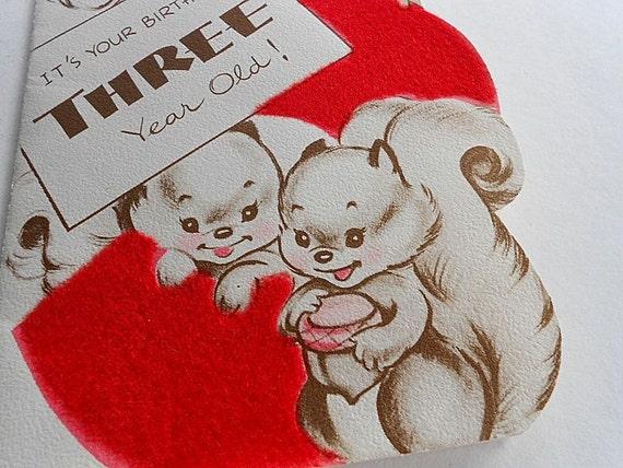 Vintage Happy Birthday Card Baby Boy Girl 3 Year Old Squirrel Etsy