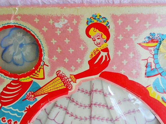 Vintage CRINOLINE LADY HANDKERCHIEF Paper Doll Box