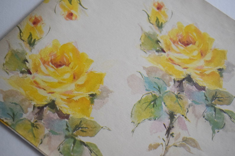 Vintage GIFT WRAP PAPER Boy Girl Birthday Shower Yellow Rose