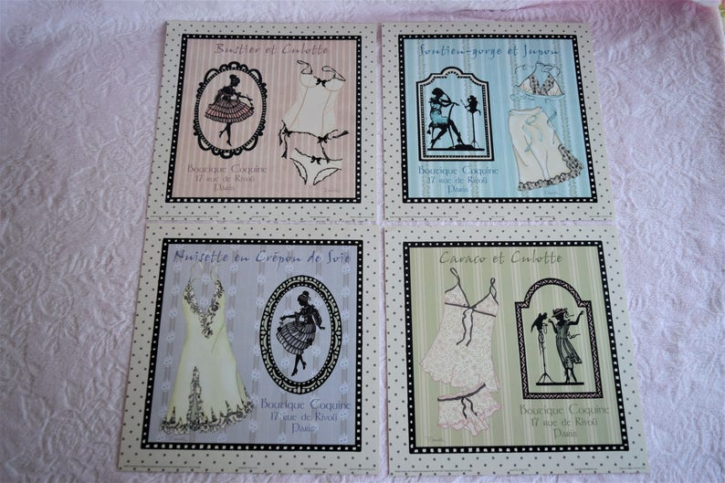 1c6013c15 Set 4 LINGERIE SILHOUETTE Wall ART Print Picture Ready to