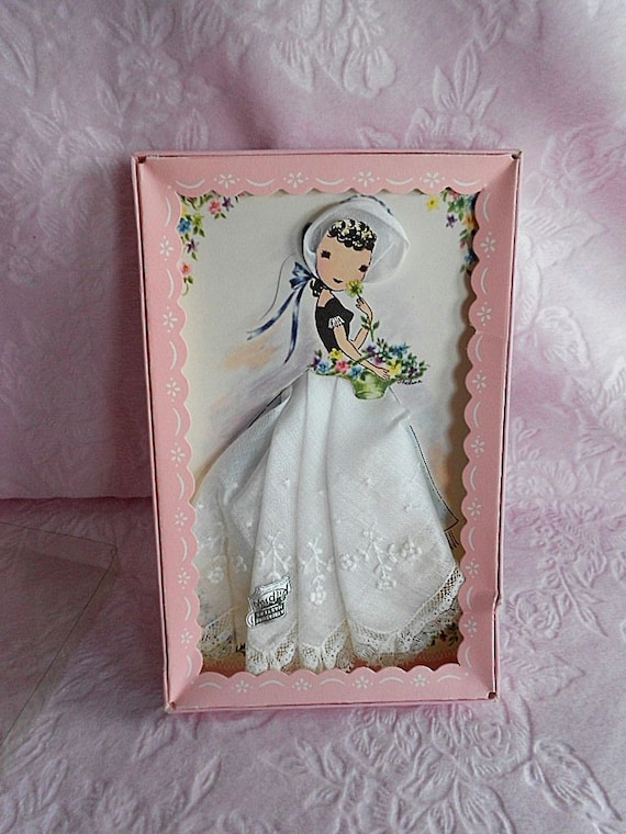 Embroidered LACE Lady Paper Doll Pink Box HANDKERC