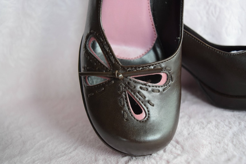74357fdf2686 L.E.I High Heel PUMP SHOES Brown Pink Leather Ladies Size 6