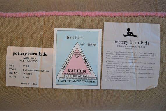 Pottery Barn Kid Rug Dollhouse Rose Pink Blue Doll House Area Etsy