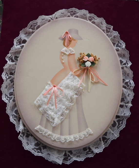 Vintage VICTORIAN LADY PLAQUE Ribbon Lace Dress Flower Floral Bouquet Bridesmaid Hat Oval Wood Hand Painted Wall Hanging Petticoat Collar