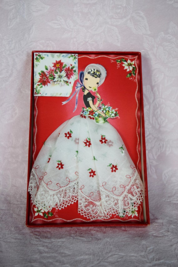 PAPER DOLL HANDKERCHIEF Embroidered Lace Lady Chri