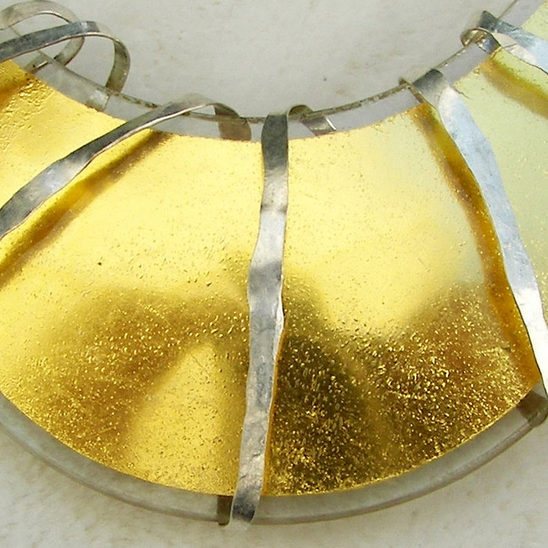 Silver Designer Pendant with Gold in Glass Piece