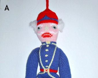 Nutcracker hand knit doll. 20 inches tall soft Nutcracker doll. Ready to ship.