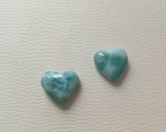 2 Larimar heart cabochons larimar cabs for your jewelry project Blue hearts