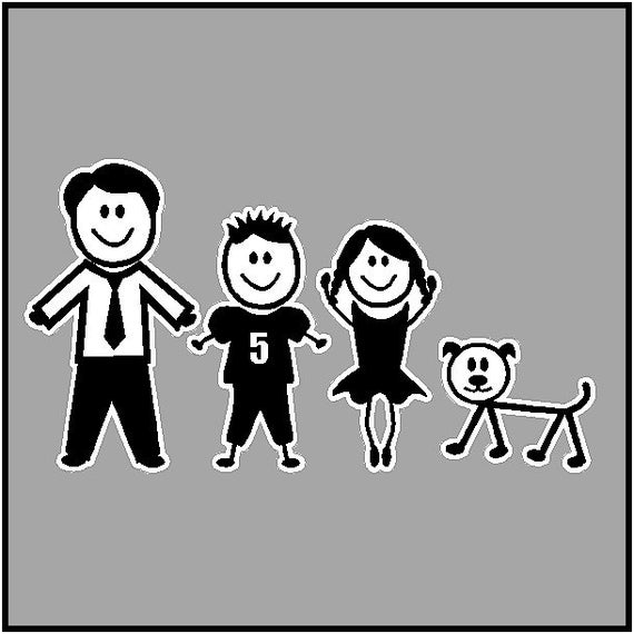 Stick People Car Decals Stick Family Stickers Full Color Item #6