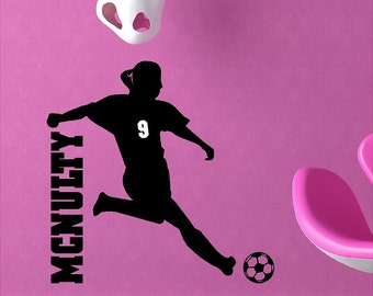 Personalized Soccer Girl Wall Decal Removable Soccer Wall Sticker