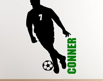 Personalized Boy Soccer Wall Decal Removable Soccer Wall Sticker Vinyl Decoration
