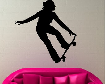 Skateboard Girl Wall Decal Removable Wall Sticker