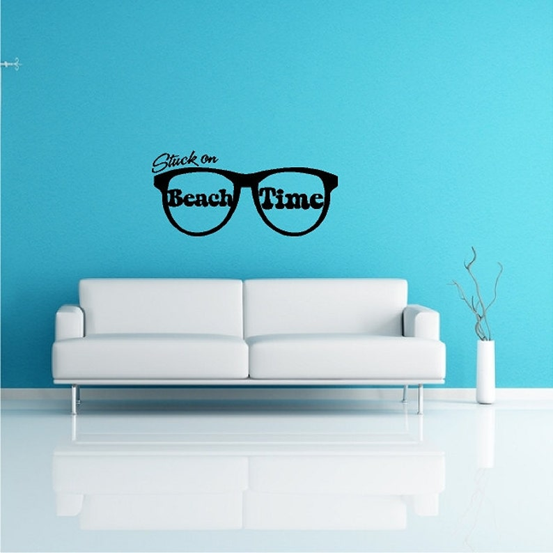 Stuck On Beach Time   Beach Wall Quotes Words Boat Decals Ocean Lettering  Nautical Vinyl Decorations