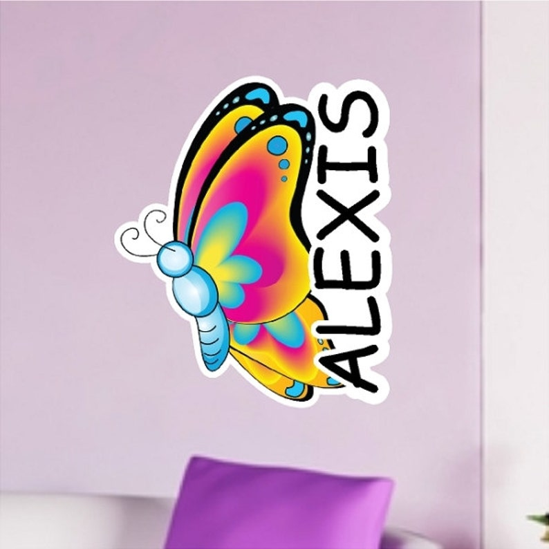 Personalized Butterfly Decal Peel and Stick Repositionable Removable Nursery Wall Sticker