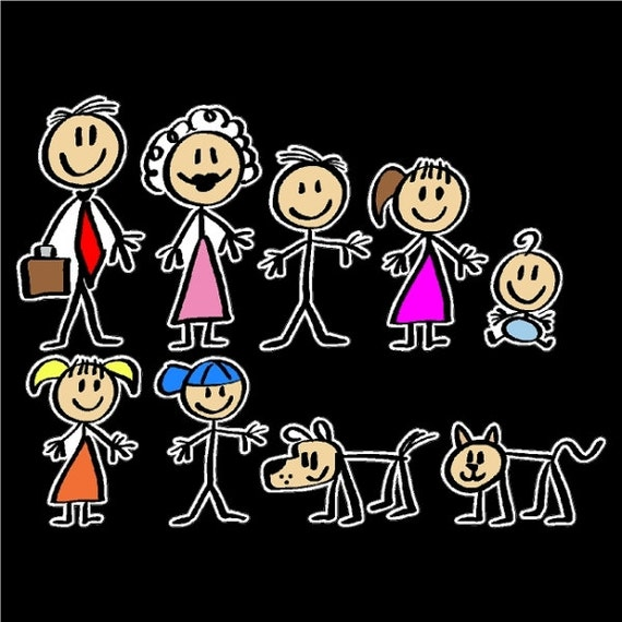 Stick People Car Decals Stick Family Stickers Color Filled