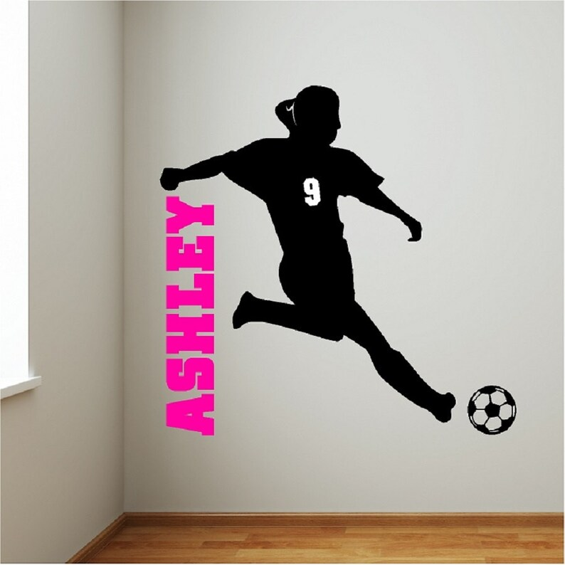 personalized soccer girl wall decal removable soccer wall | etsy