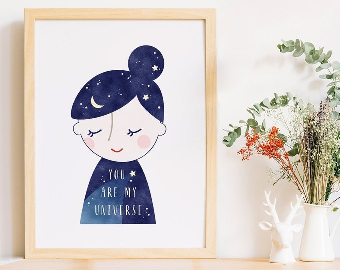 Featured listing image: You Are My Universe, Dreamy Art, Unique Prints, Sleeping Prints, Sleeping Wall Art, Moon Stars Art, Dreaming Art, Unique Wall Print