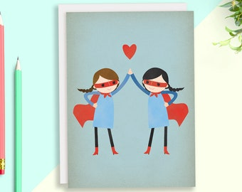 Super Hero Greeting Card, BFF Birthday Card for Best Friend, Lesbian Wedding, Lesbian Girlfriend, Custom Greeting Card, Lesbian Girlfriends