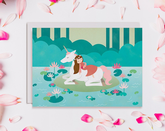 Unicorn Lake Sleeping Beauty Card