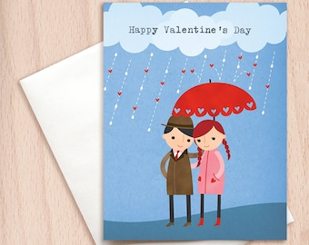 Rainy Day Love - Boyfriend Girlfriend, Valentine's Day Card, Couple Love Card, Card for Husband, Card for Wife - Cute Valentine's Card